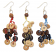 3 Line Thread & Wood Button Dangle Earring