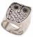 Silver Metal & Rhinestone Owl Ring