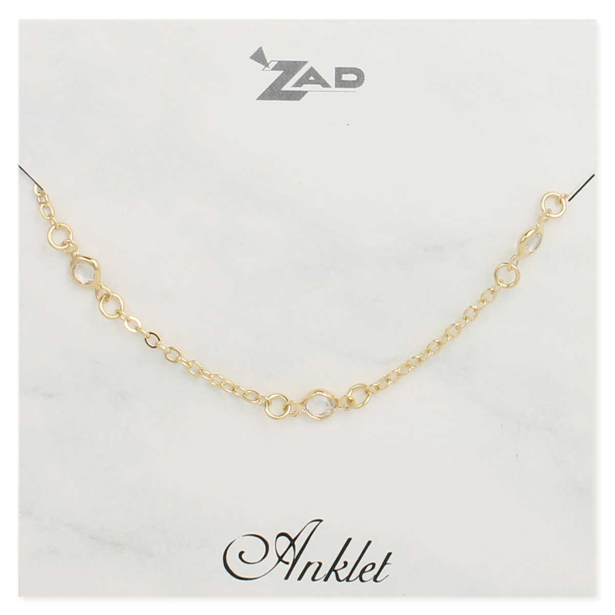 Gold & Clear Crysta Chain Anklet