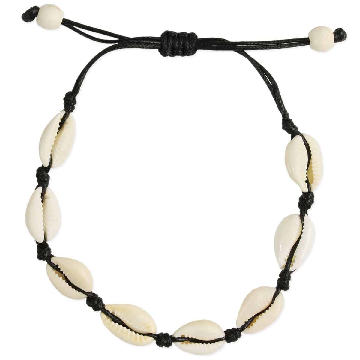 Black Cord Cowry Bead Men's Bracelet