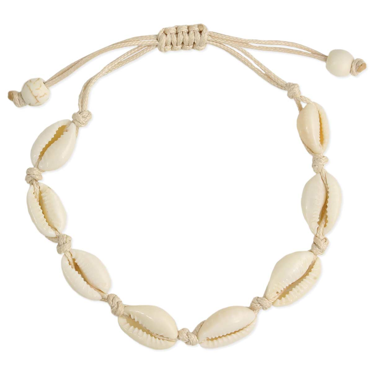 Cream cord cowry shell pull anklet or bracelet
