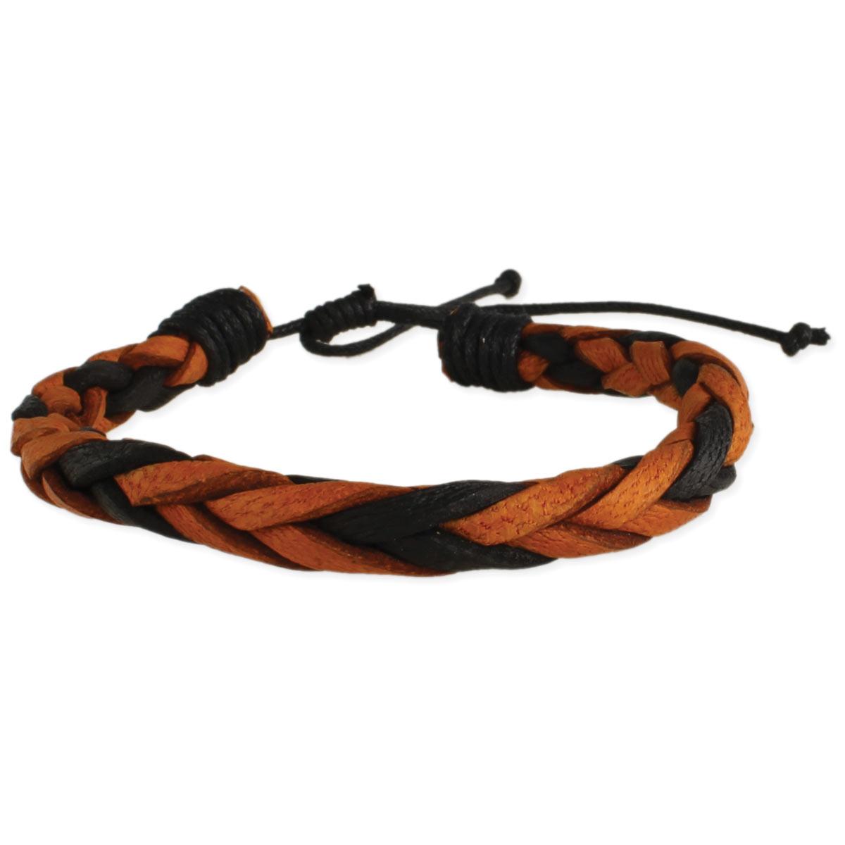 Brown & Black braided Leather Men's Bracelet