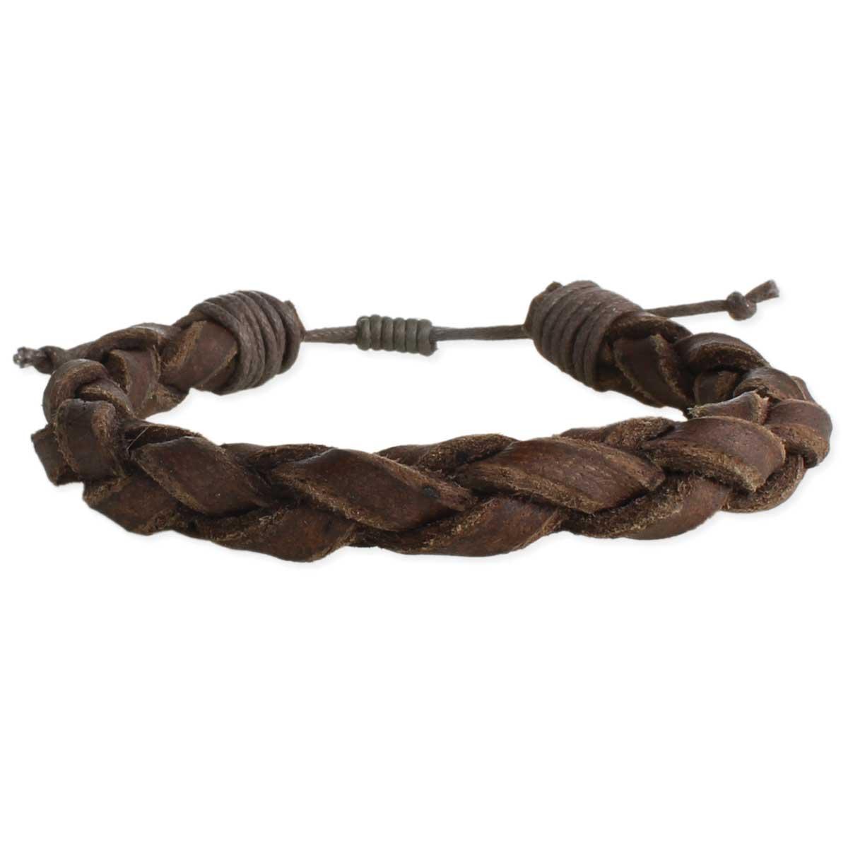 Brown Braided Leather Men's Pull Bracelet