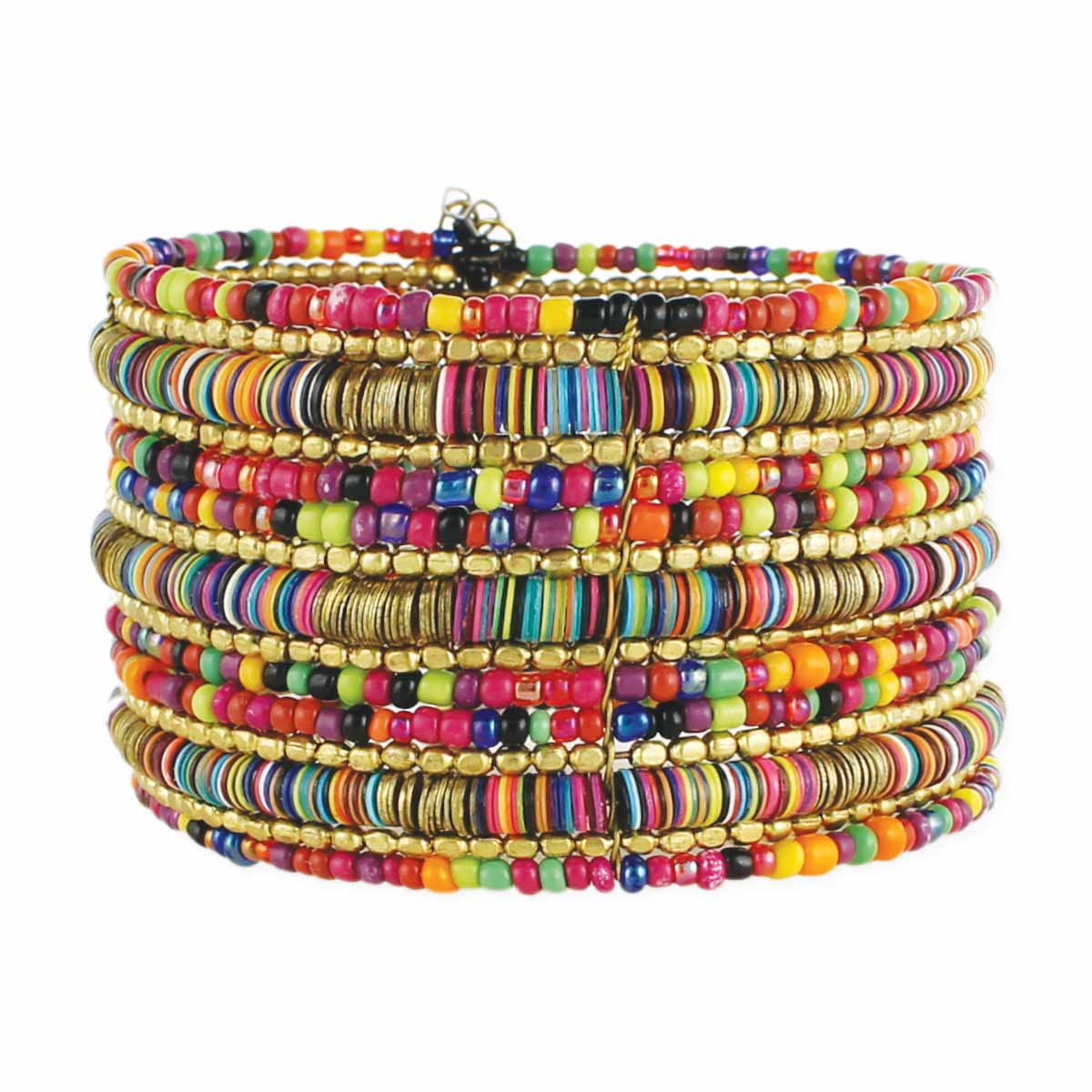 Multi Sequins and Bead Wide Cuff Bracelet