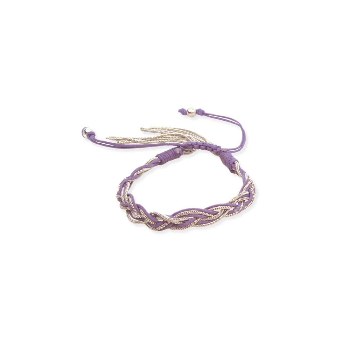 Purple cord & Chain Braided Pull Bracelet