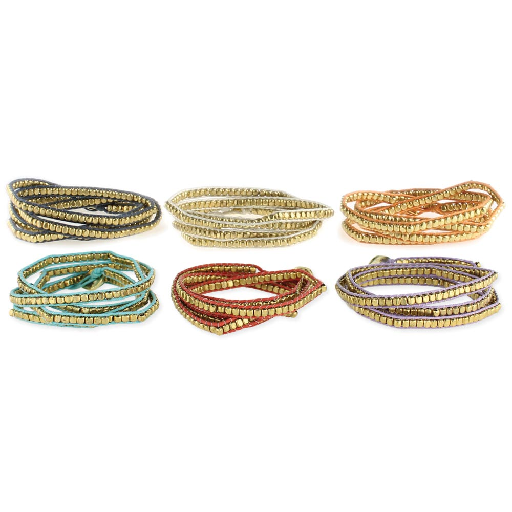 Cord Gold Metal Bead Wrap Bracelet