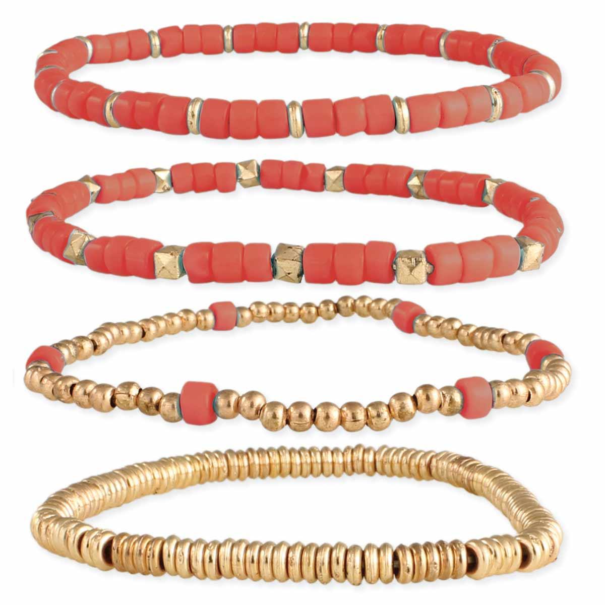Glass & Rose Gold Bead Stretch Bracelet Sets