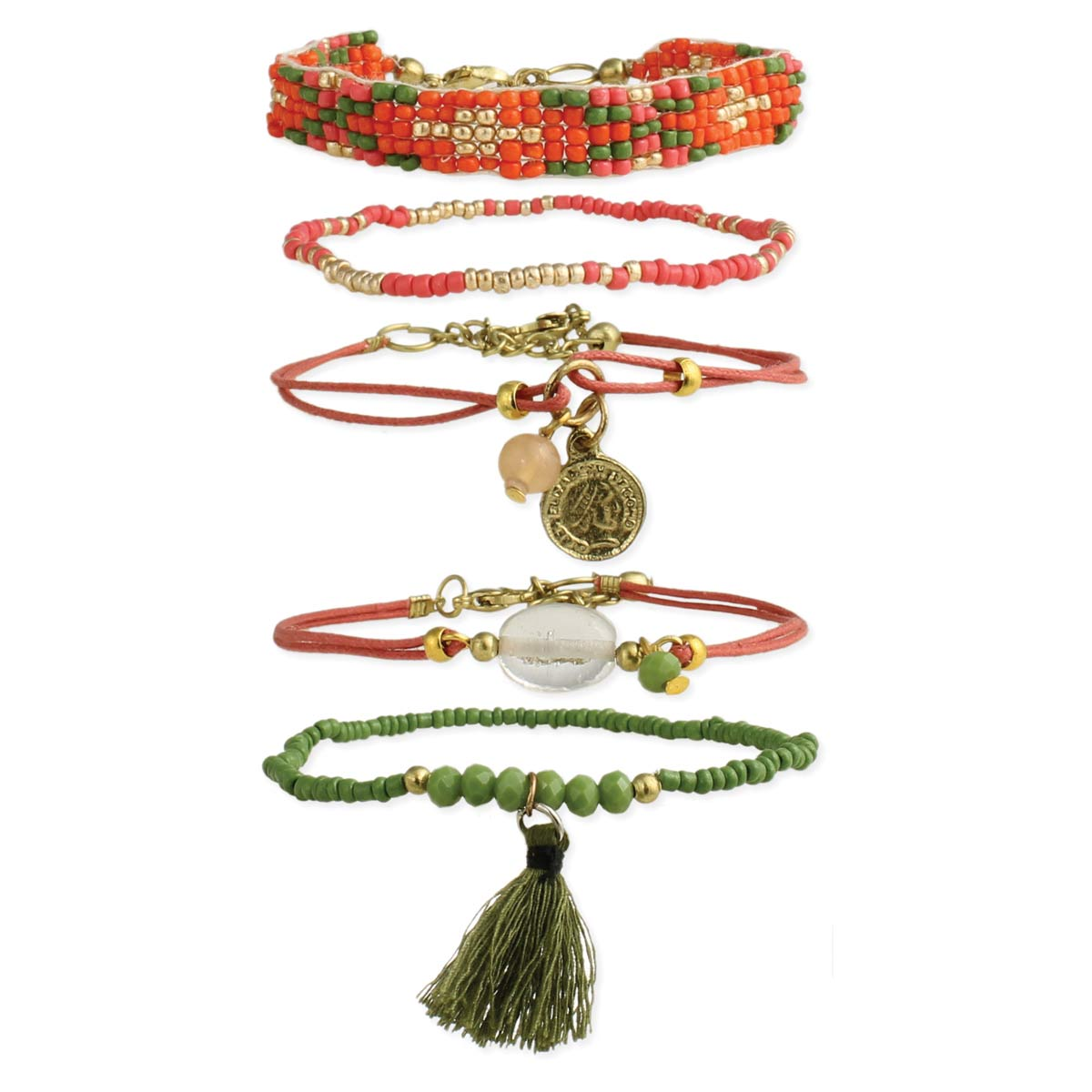 Orange & Olive Bead Bracelet Set