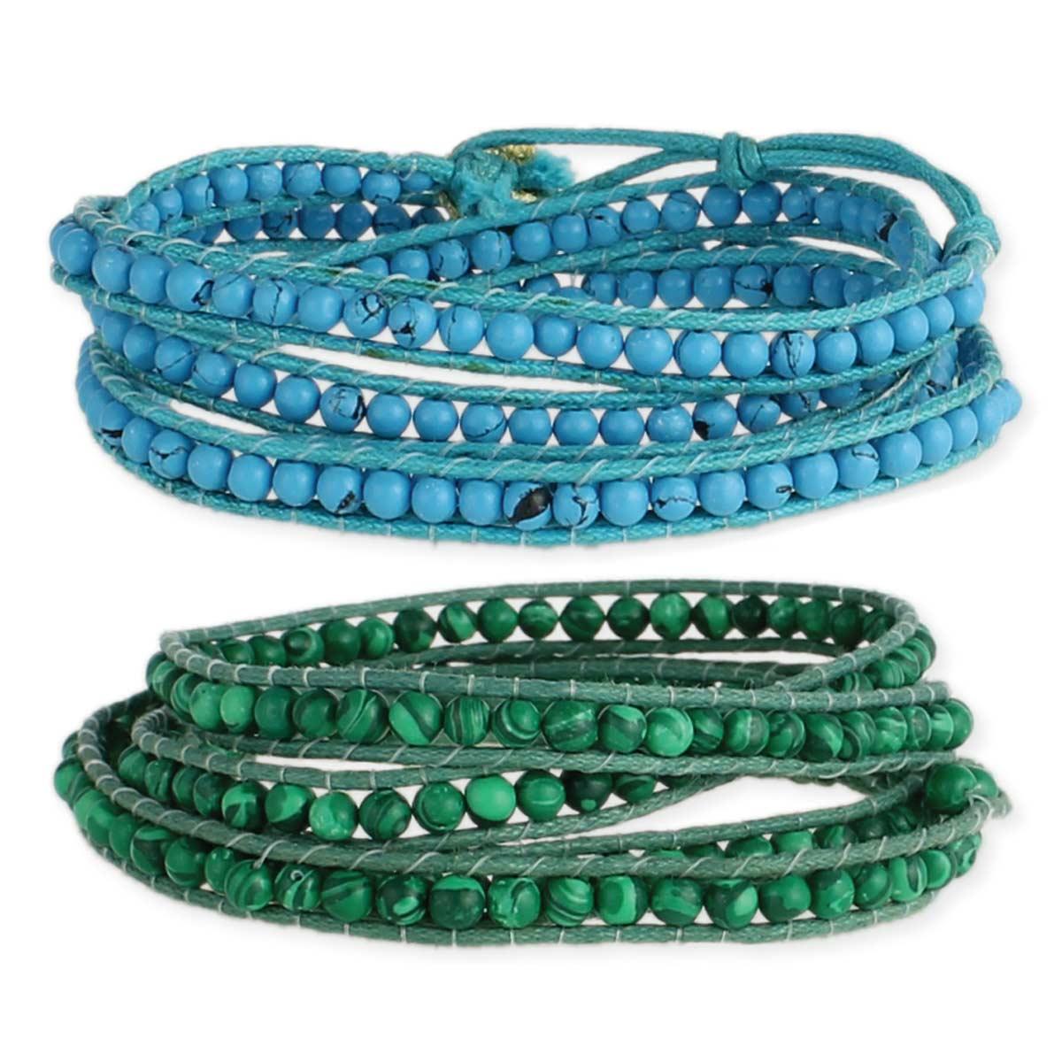 Turqoise & Green Stone Bead Wrap Bracelets