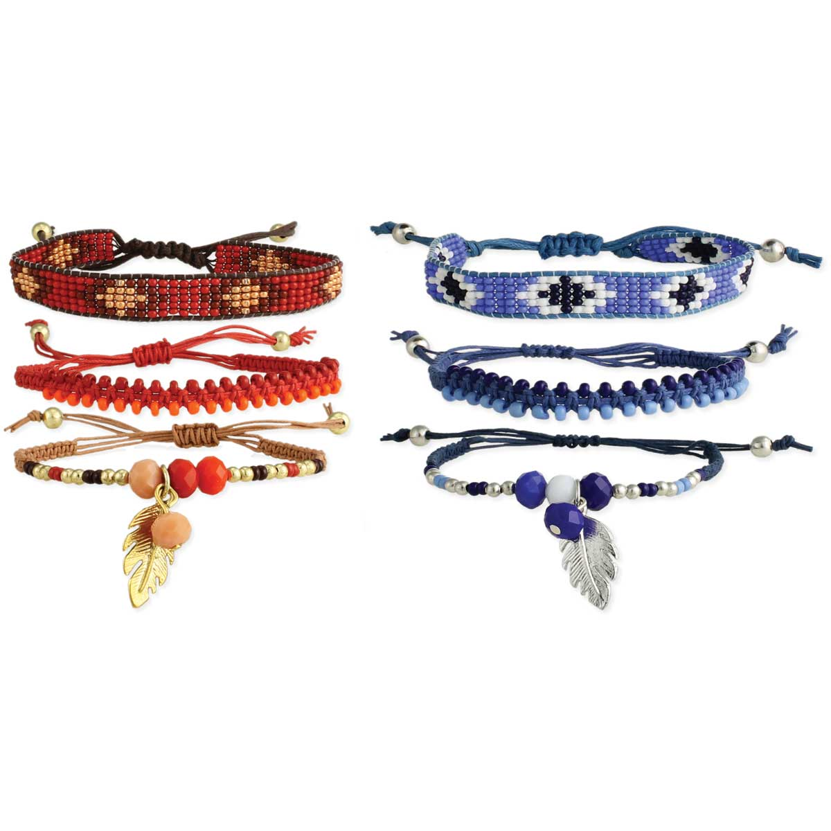 Set of 3 Seed Beaded & Feather Bracelets