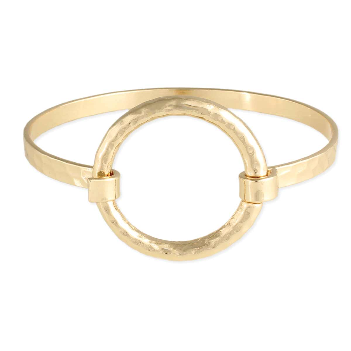 Open Circle Hammered Gold Bangle