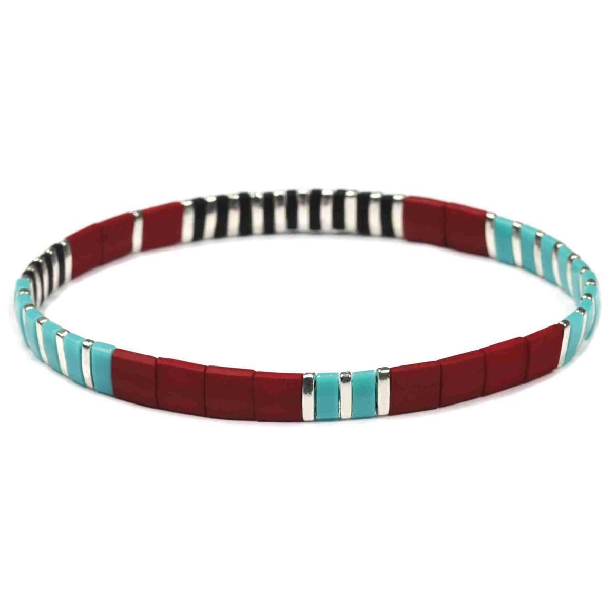 Red, Turquoise, Silver & Black Tila Bead Bracelet