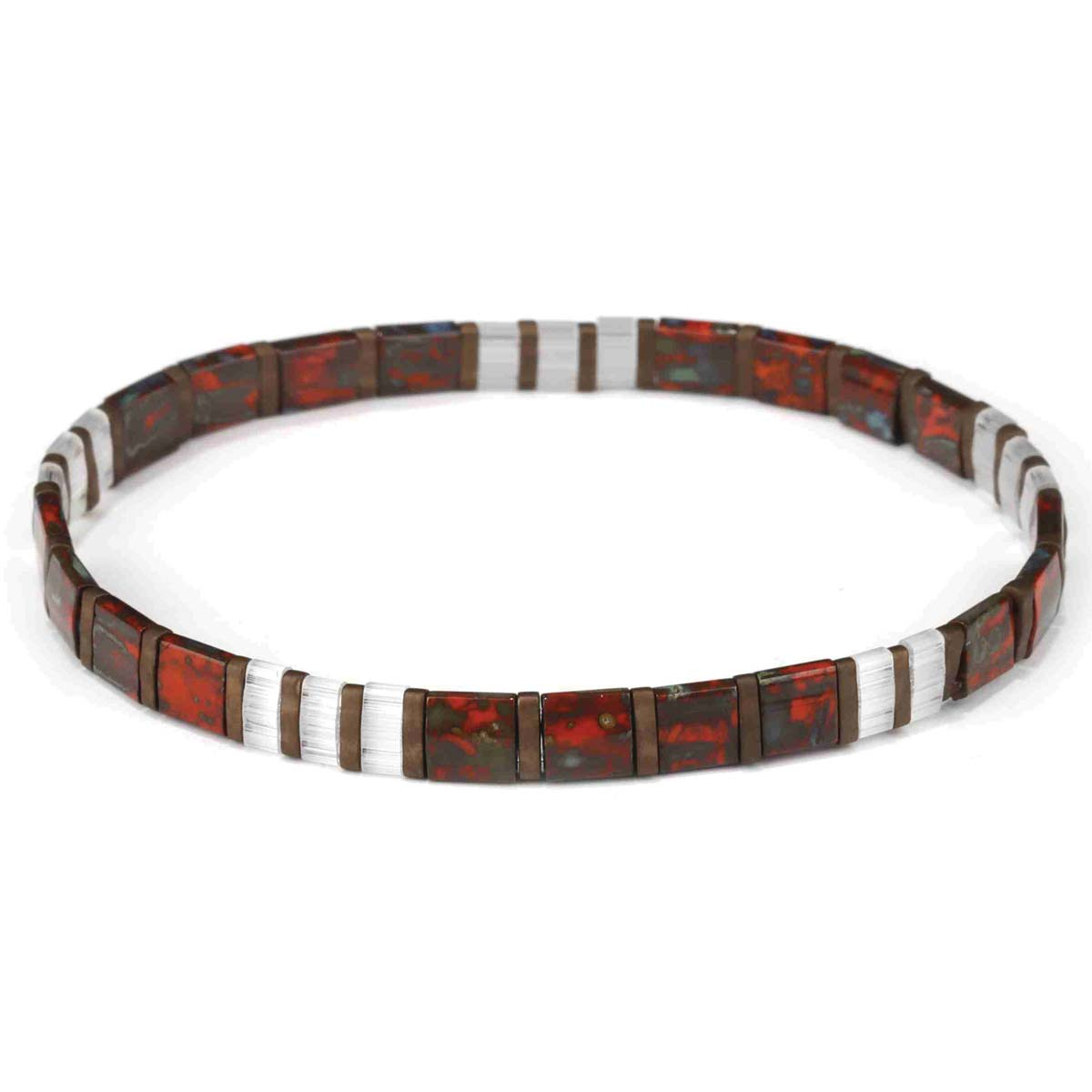 Marbled Red & White Bead Tila Bracelet