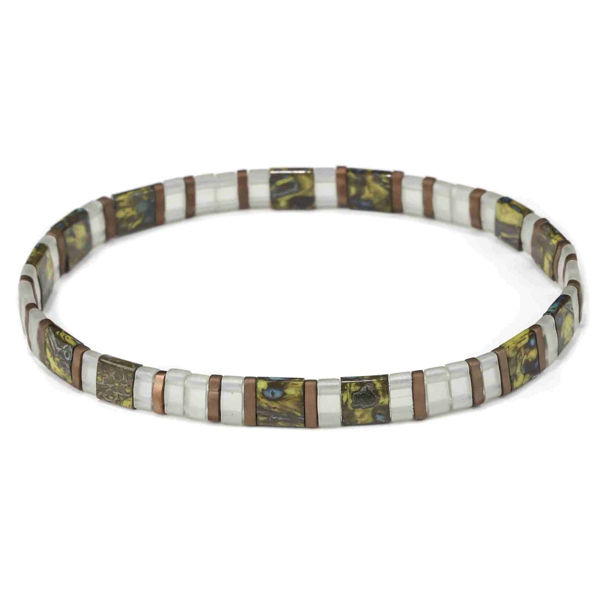 Marbled Green & White Tila Bead Stretch Bracelet