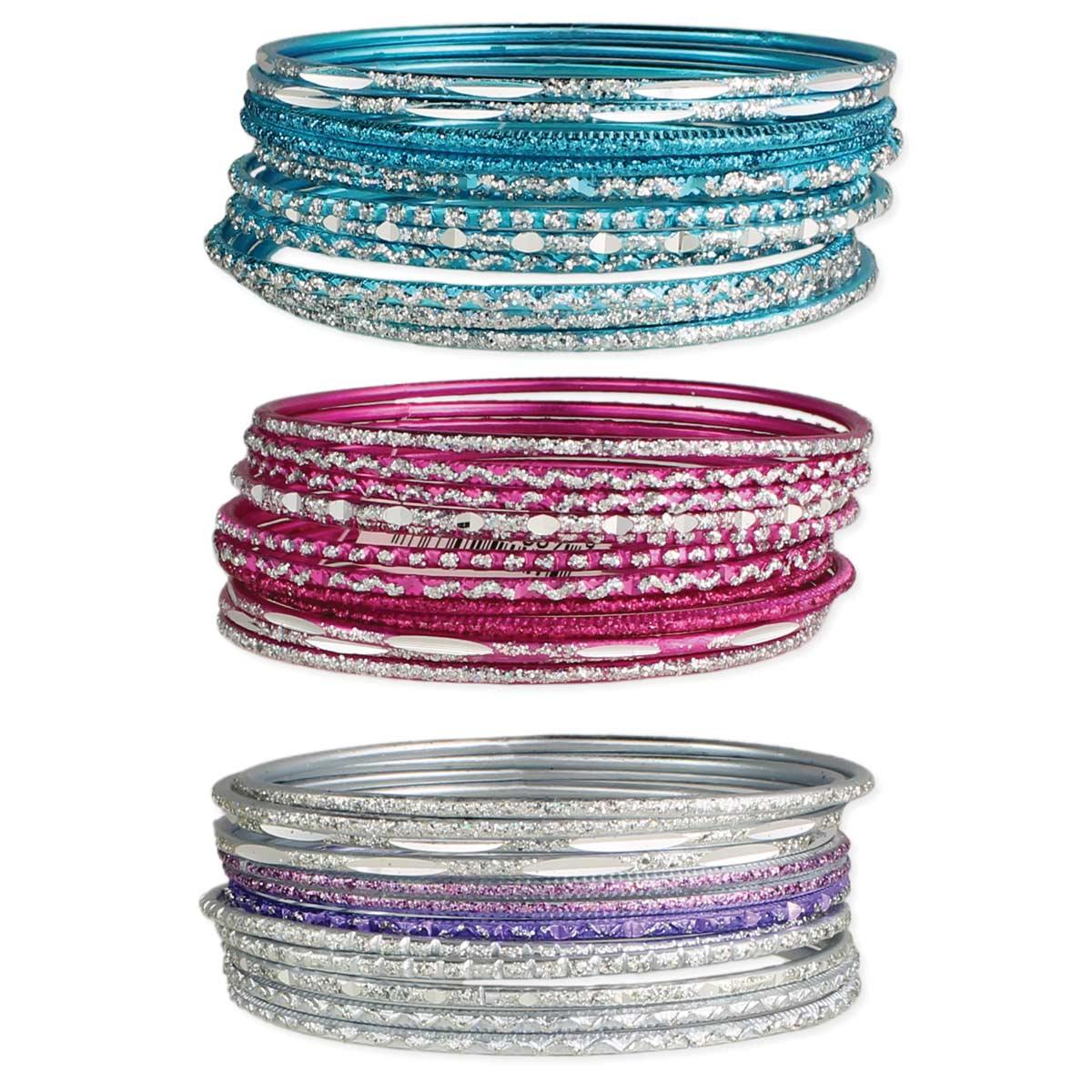 Set of 12 aluminum glitter bangles
