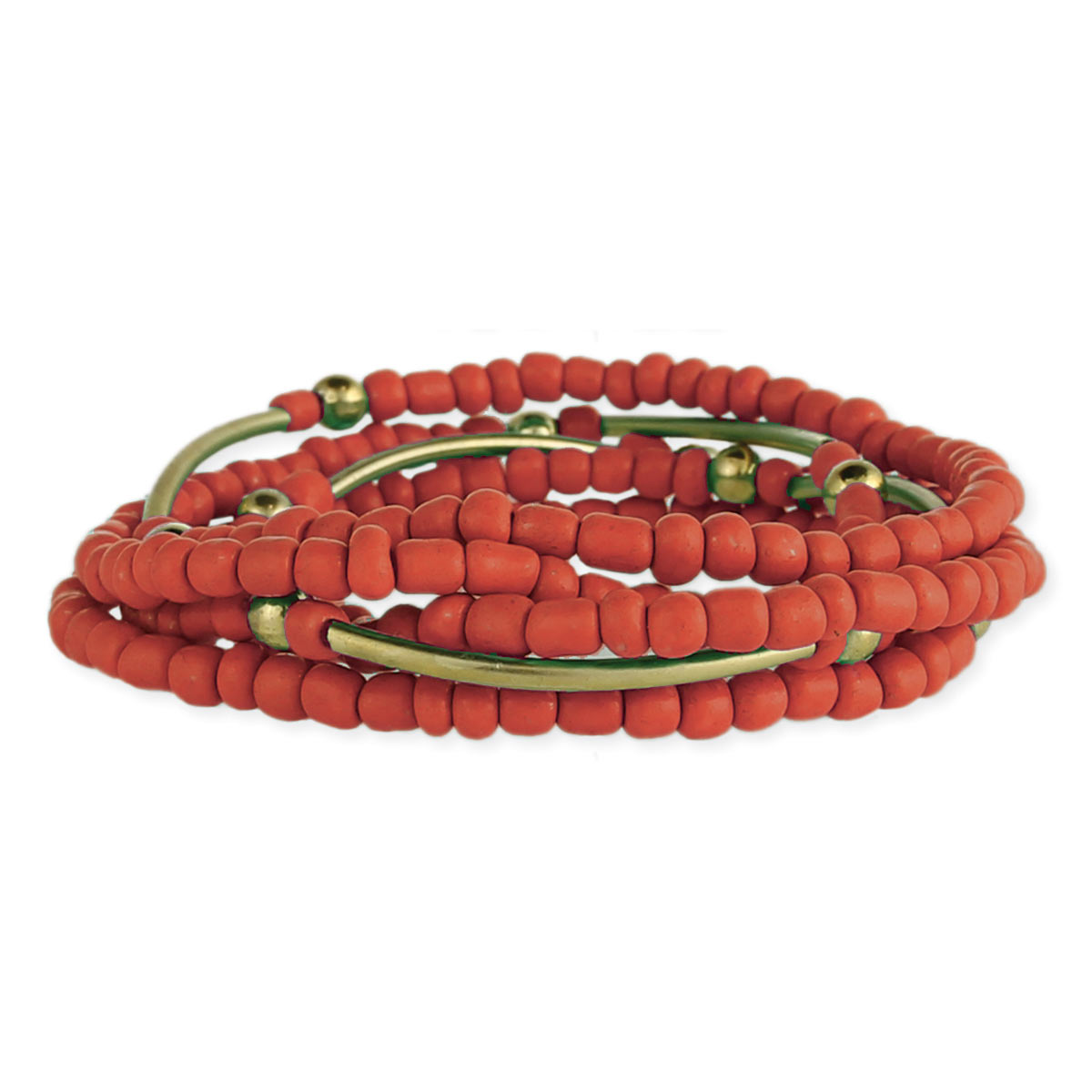 Set of Coral & Gold Bead Stretch Bracelets