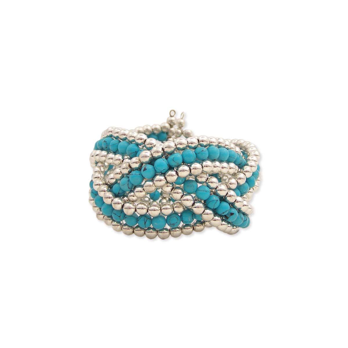 Silver & Turquoise Bead Cuff Bracelet