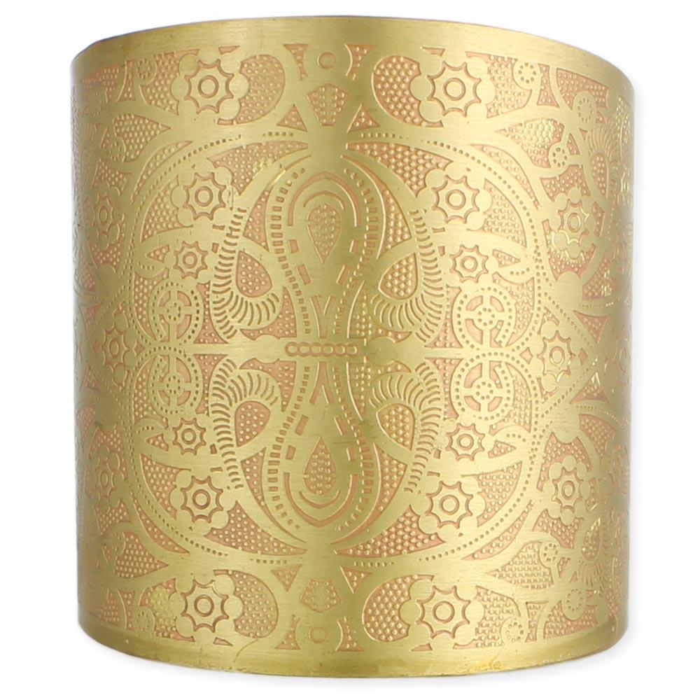 Wide Gold Peach Embossed Cuff Bracelet