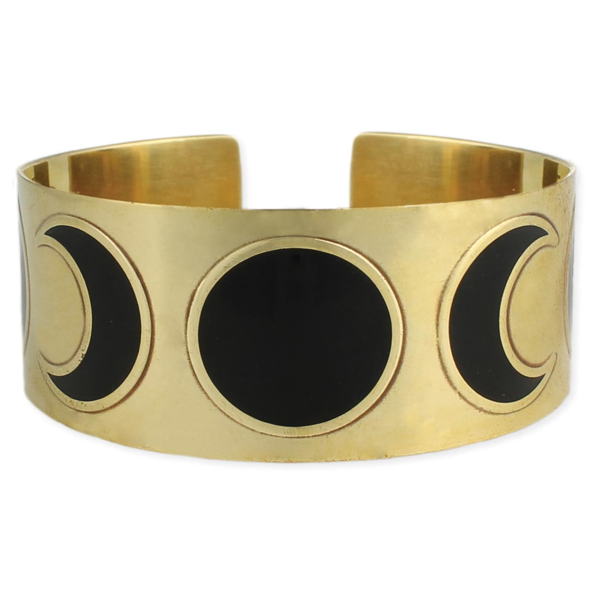 Wide Gold Moon Phases Cuff Bracelet