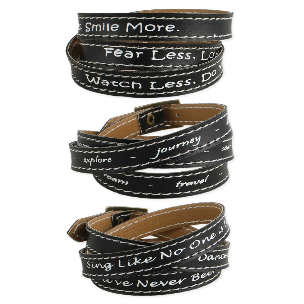 Black Leather Quote Wrap Bracelet