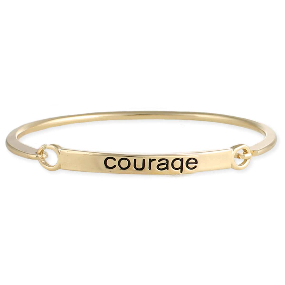 Gold Courage Engraved Hinge Bangle