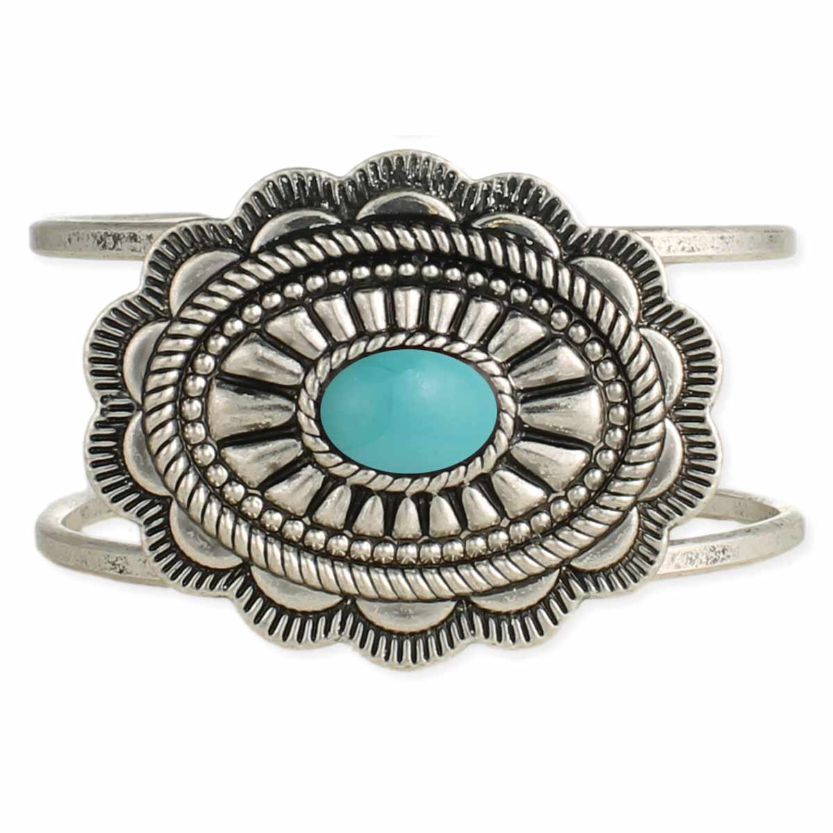 Silver concho Turquoise Stone Cuff Bracelet
