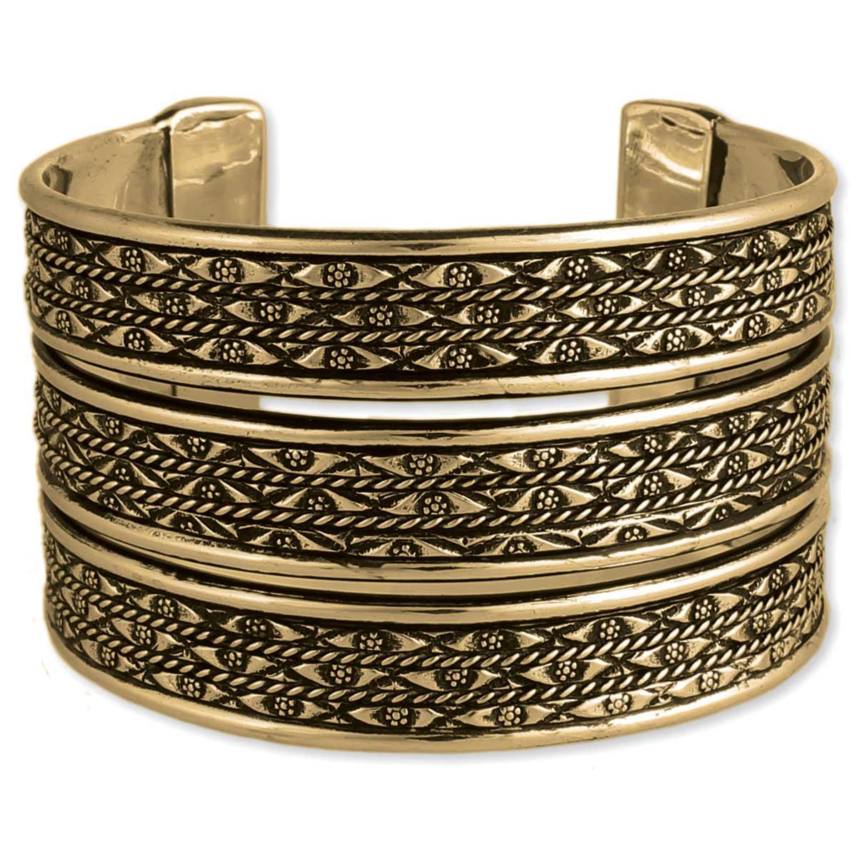 Textured 3 Line Gold Cuff Bracelet