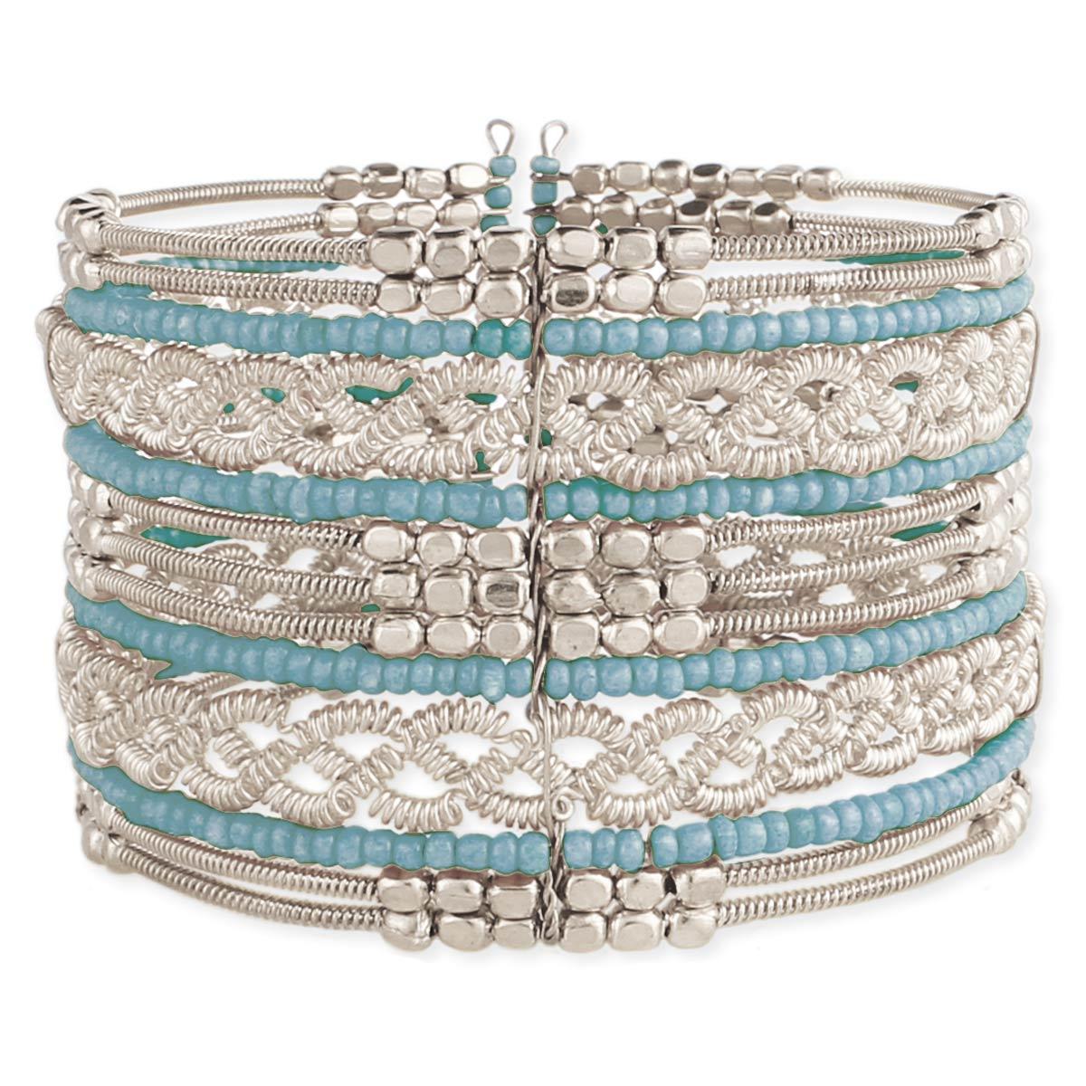 Wide Beaded Silver Cuff Bracelet