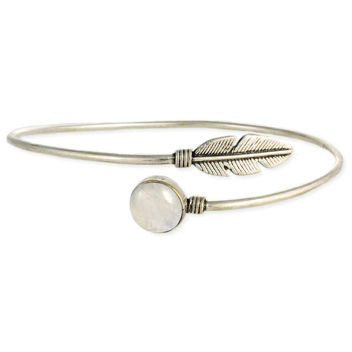 Rainbow Moonstone & Feather Silver Armband