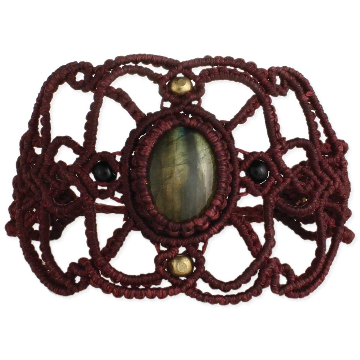 Waxed Cord Macrame Labradorite Bracelet