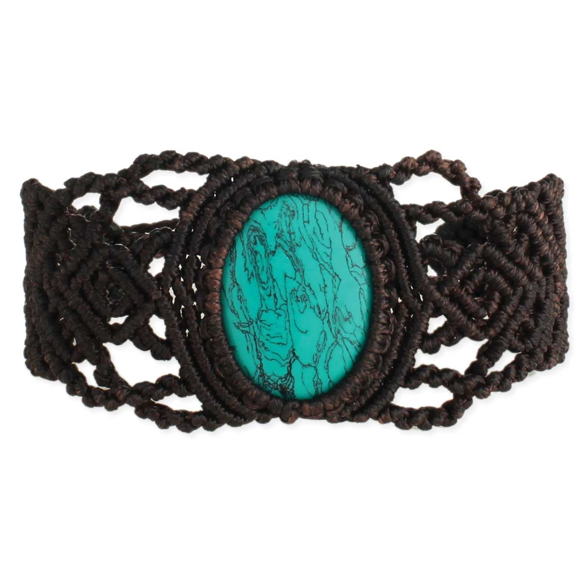 Brown Cord & Turquoise Stone Pull Bracelet