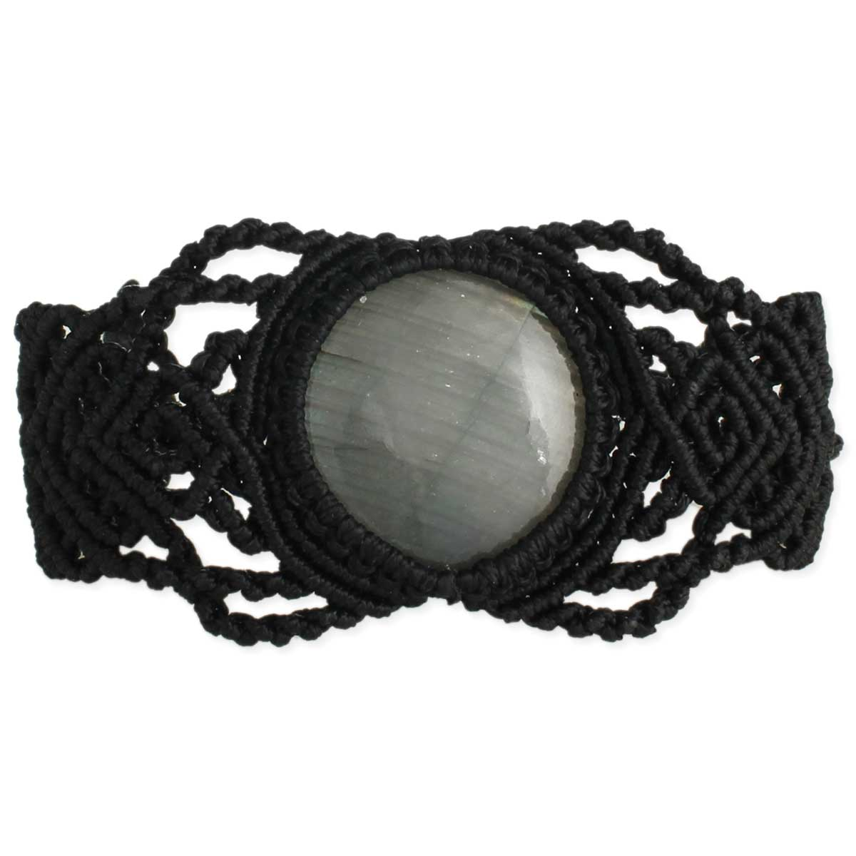 Black Thread & Labradorite Pull Bracelet