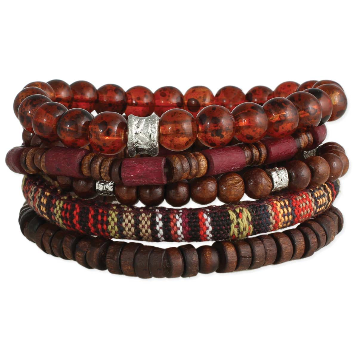 Set of 5 Wood & Glass Bead Men's Bracelets