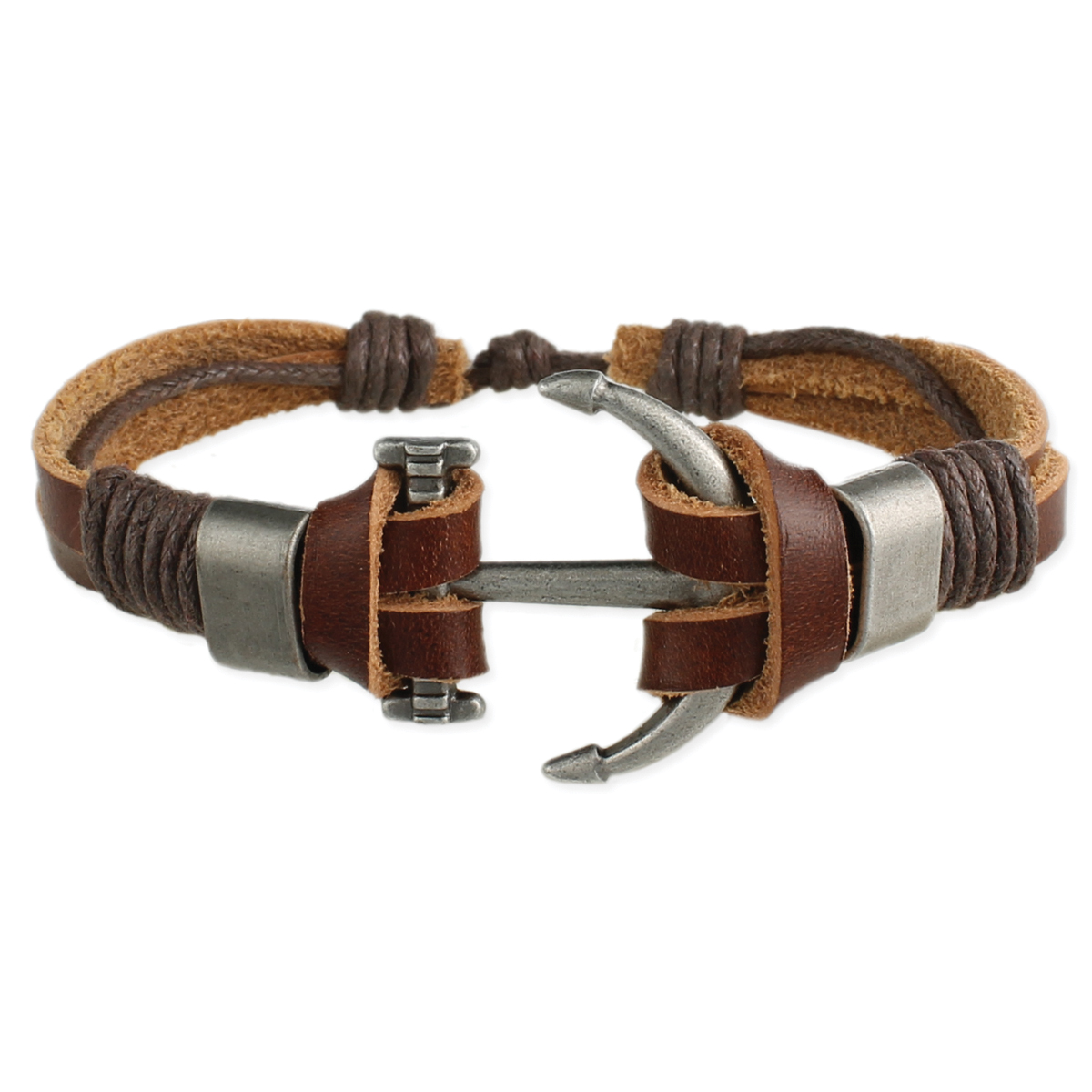 Anchor S Aweigh Brown Leather Men Bracelet