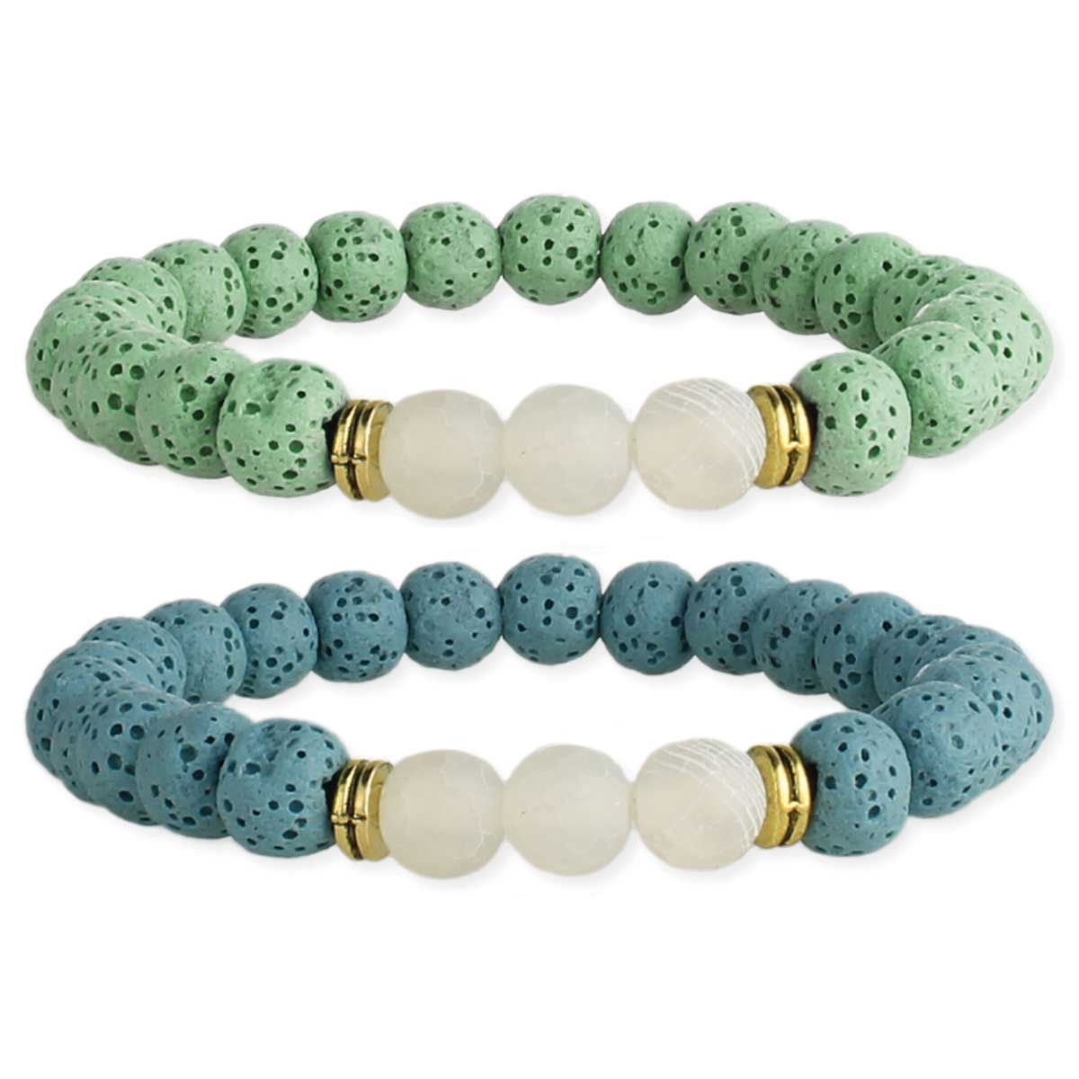 Pastel Lava Bead Stone Diffuser Stretch Bracelet