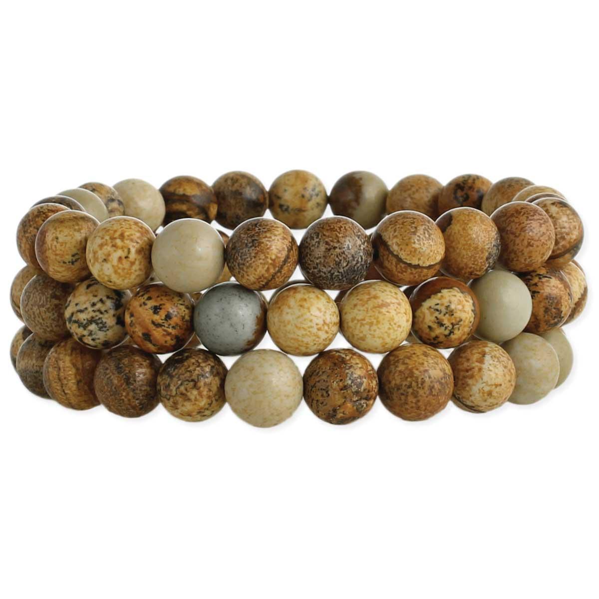 Brown Jasper Bead Set of 3 Stretch Bracelets