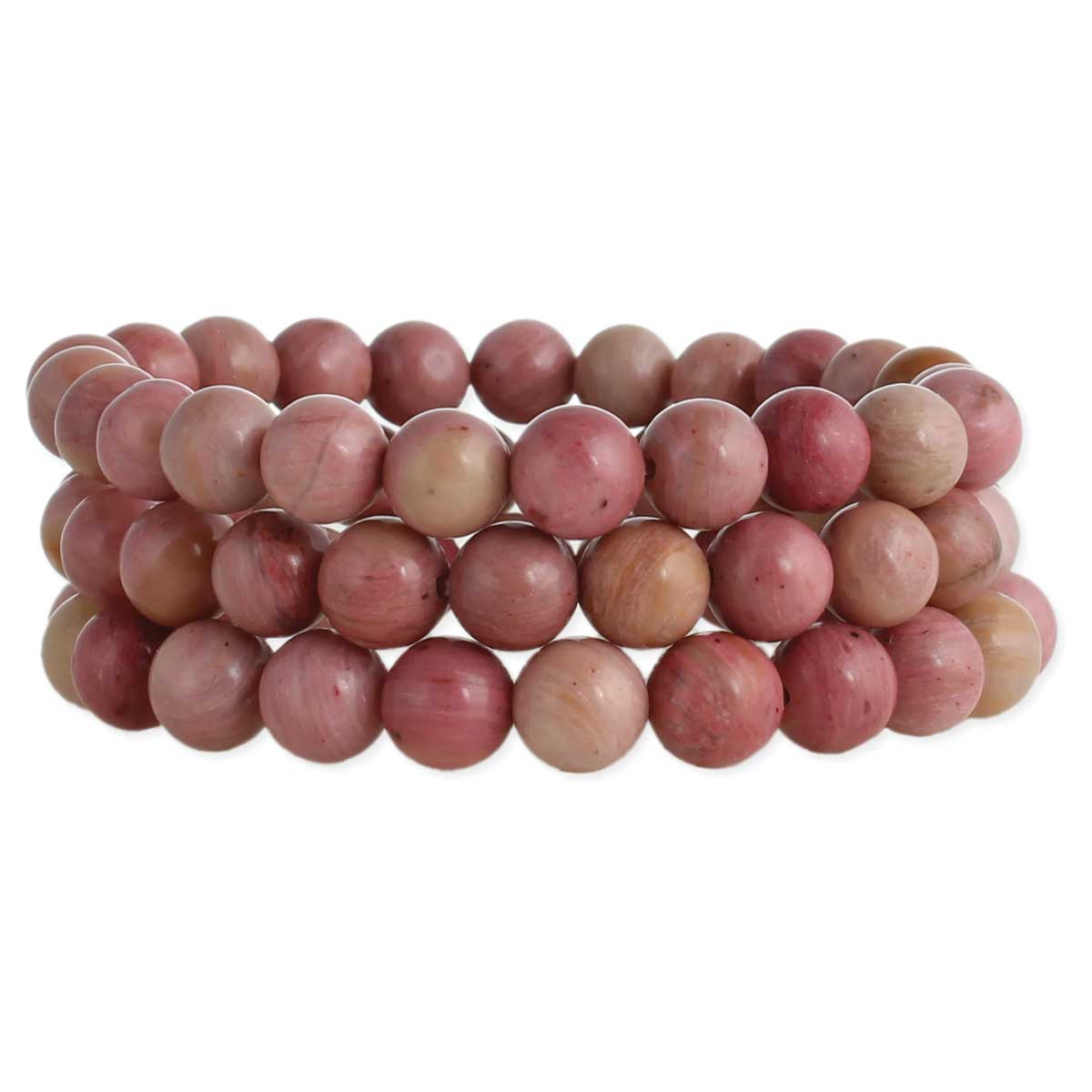 Set of 3 Pink Stone Bead Bracelets