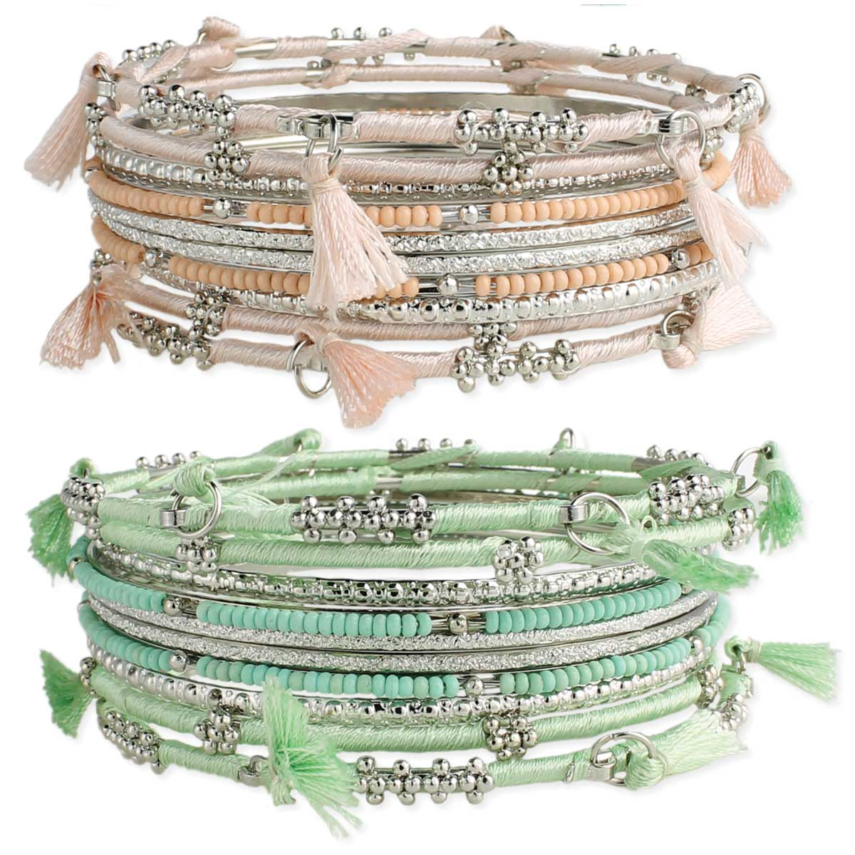 Thread Wrapped Silver Bangle Bracelet Set with Tassels