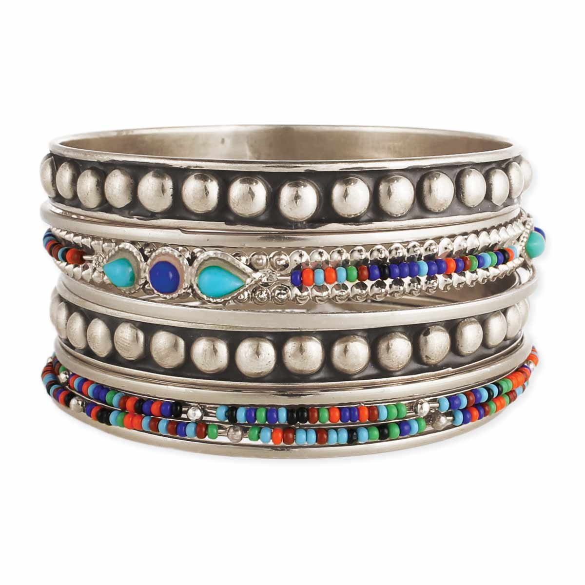 Multicolor Bead Silver Bangle Set