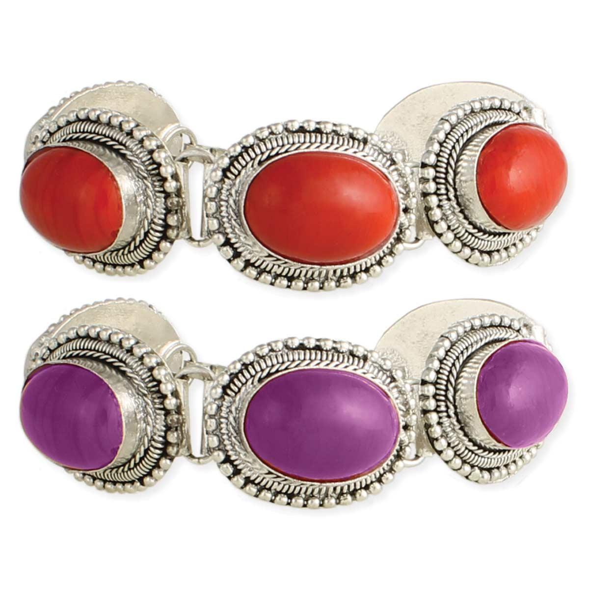 Silver & Oval Bead Bracelets
