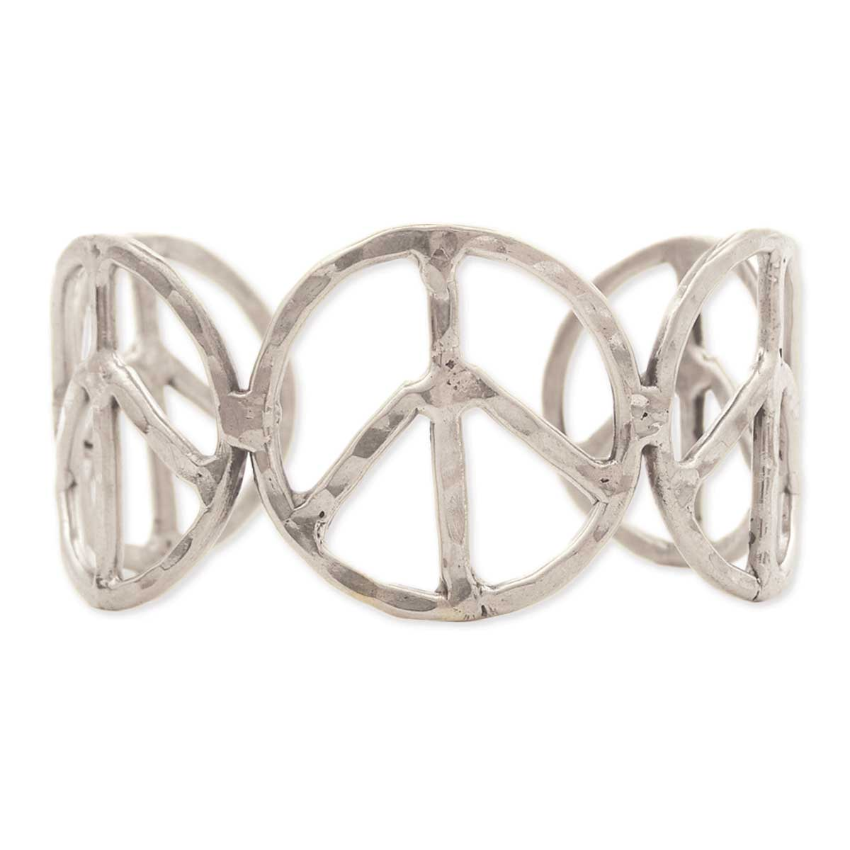 Silver Hammered Peace Sign Cuff Bracelet