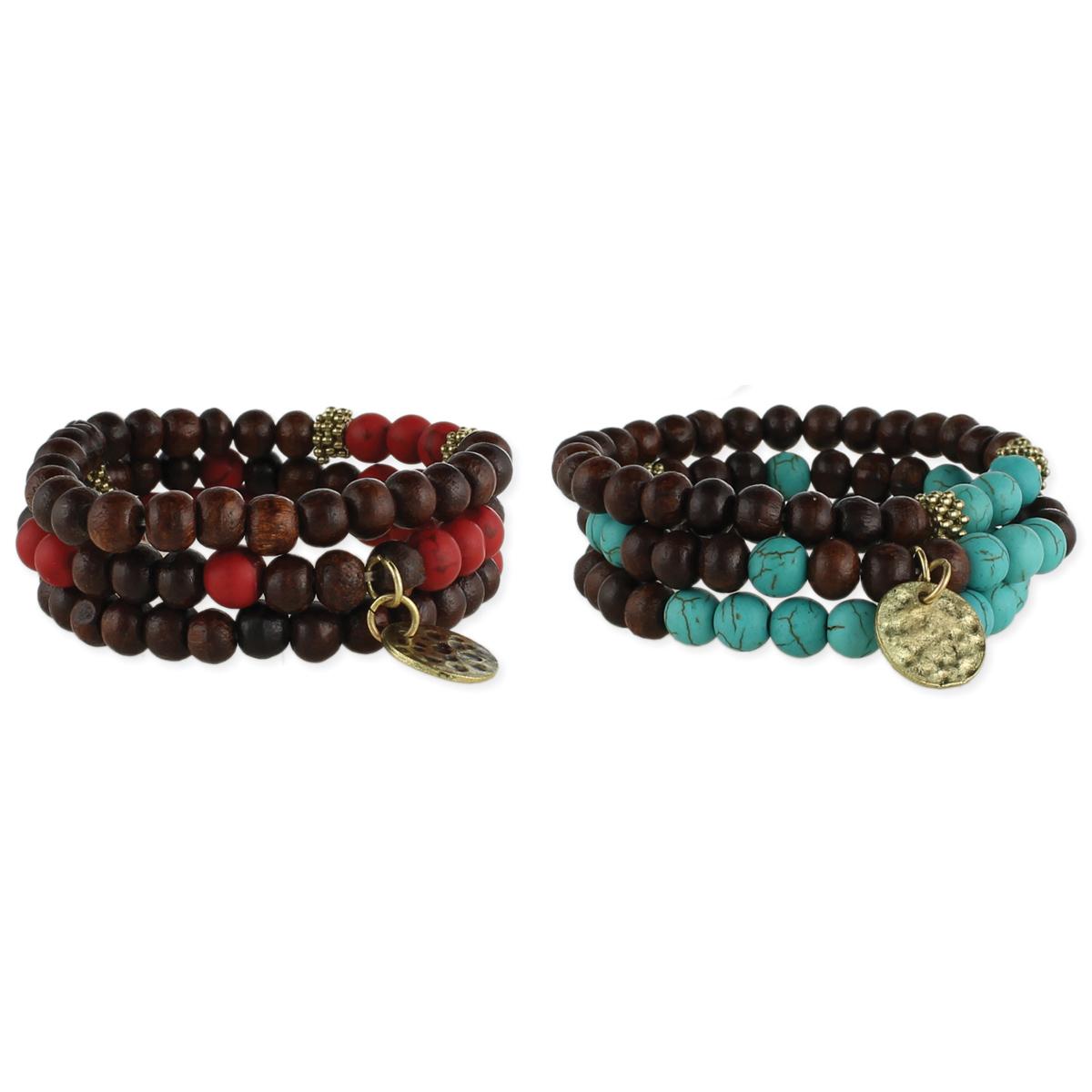 Dark Wood Bead Coil Bracelet