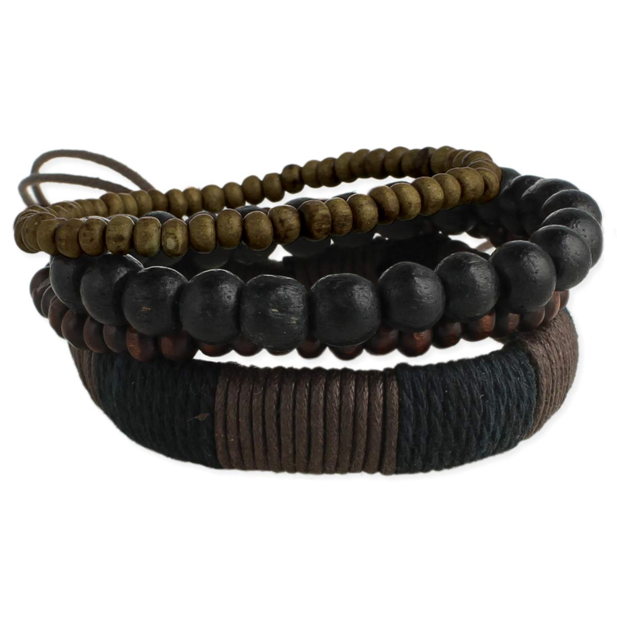 Set of 4 Wood Bead & Leather Men's Bracelets