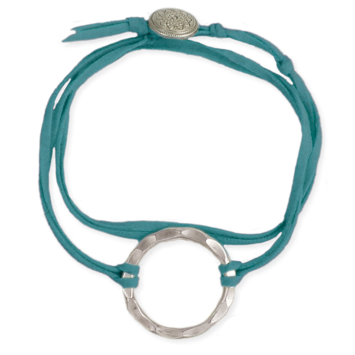 Turquoise Suede Silver Circle Wrap Bracelet
