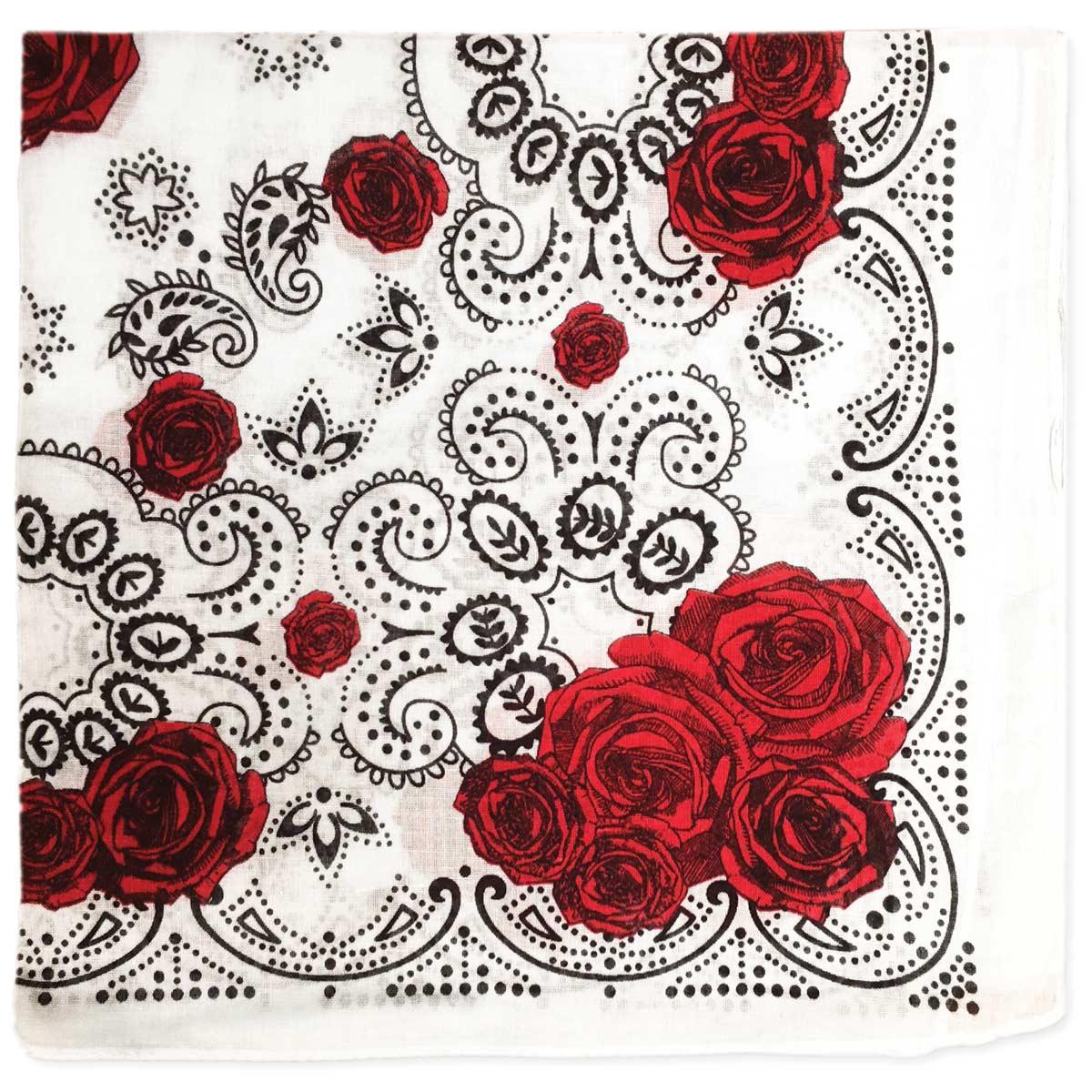 White Red Rose Print Bandana