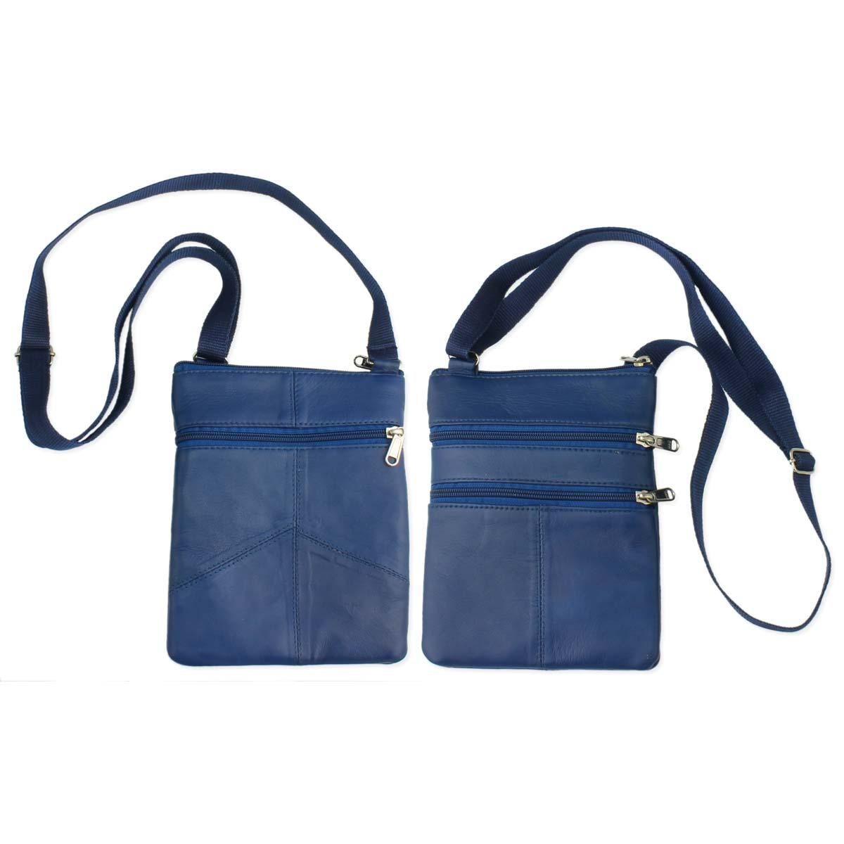 Blue Leather Passport Cross Body Bag