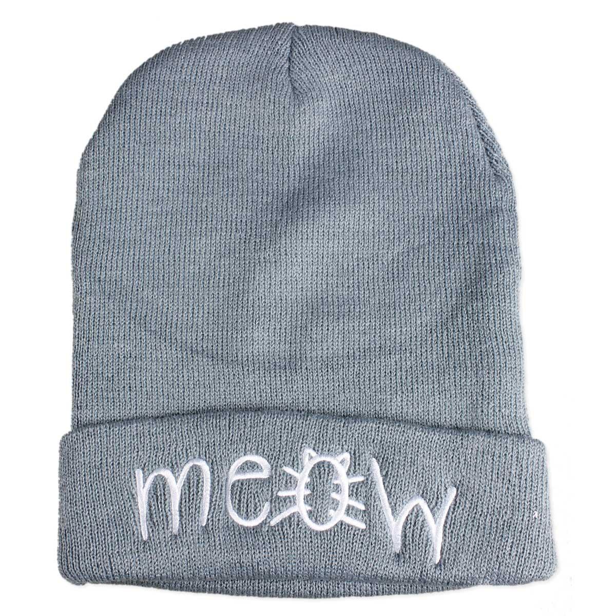 Grey Knit Meow Beanie