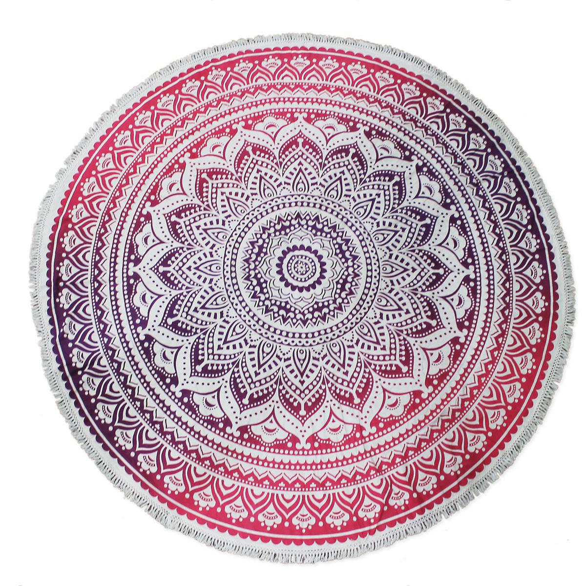 Pink Purple Mandala Round Blanket
