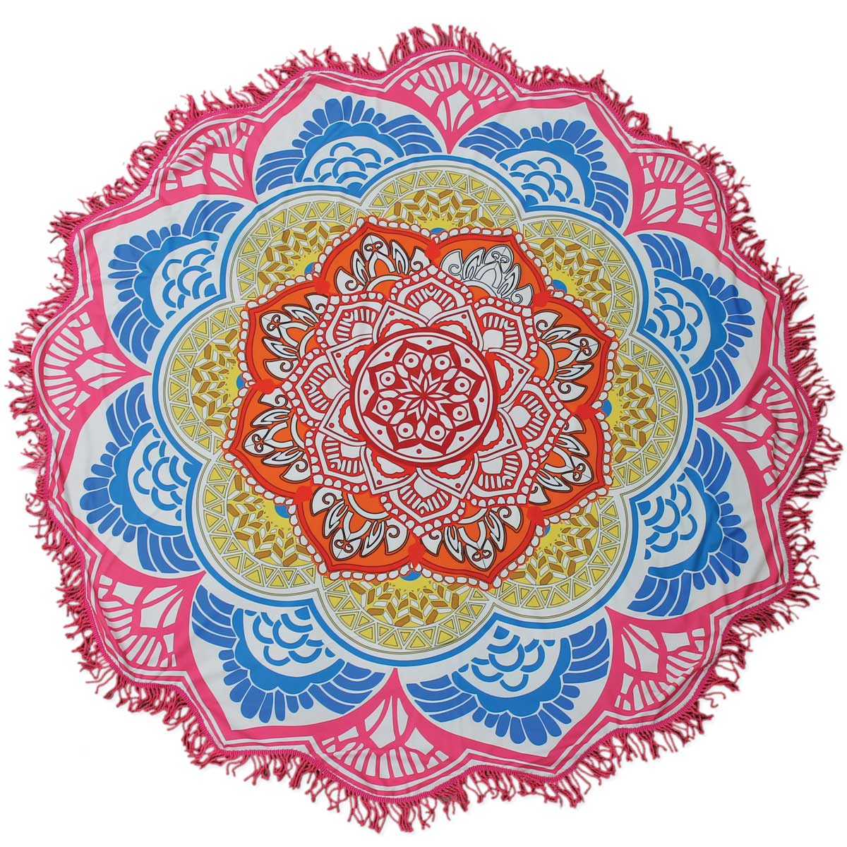 Pink Fringe Rounded Flower Blanket