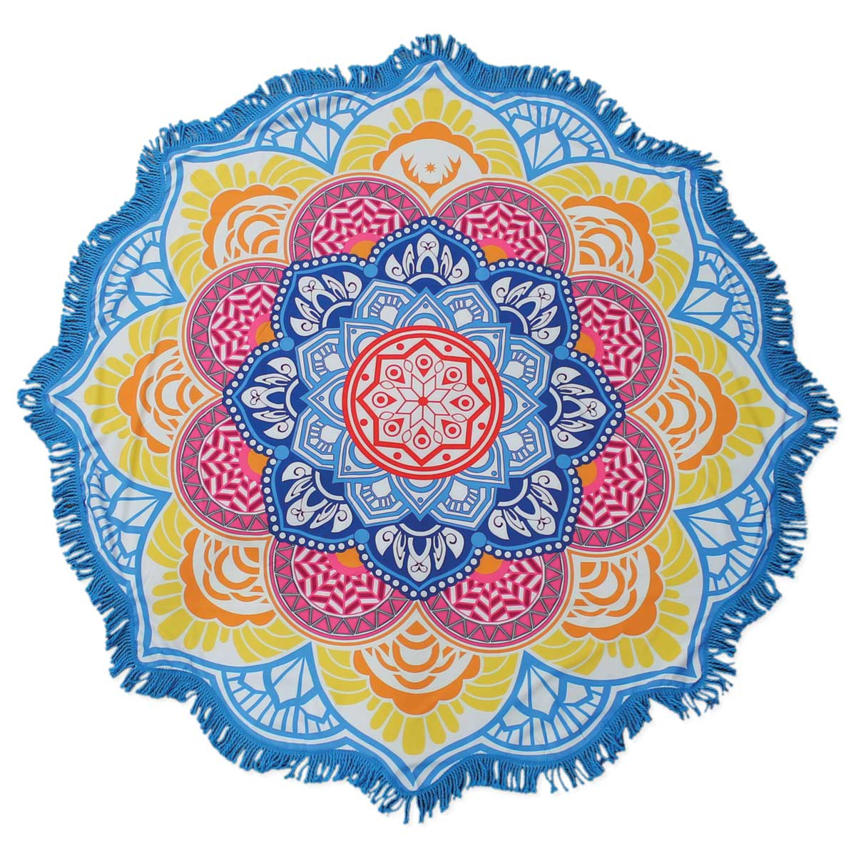 Turquoise Fringe Rounded Flower Blanket